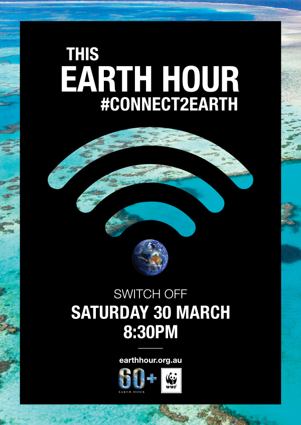 Connect2Earth Reef poster. Background image © WWF-Aus / Christian Miller