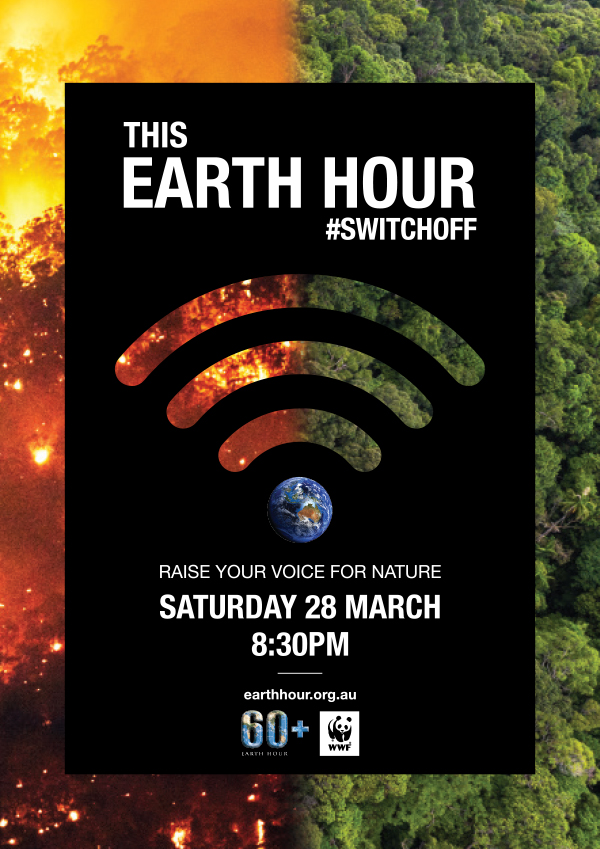 Switch Off for Earth Hour Fires & Trees poster - Background Image © Andrew Merry / Getty Images / Kalyakan / Adobe Stock / WWF