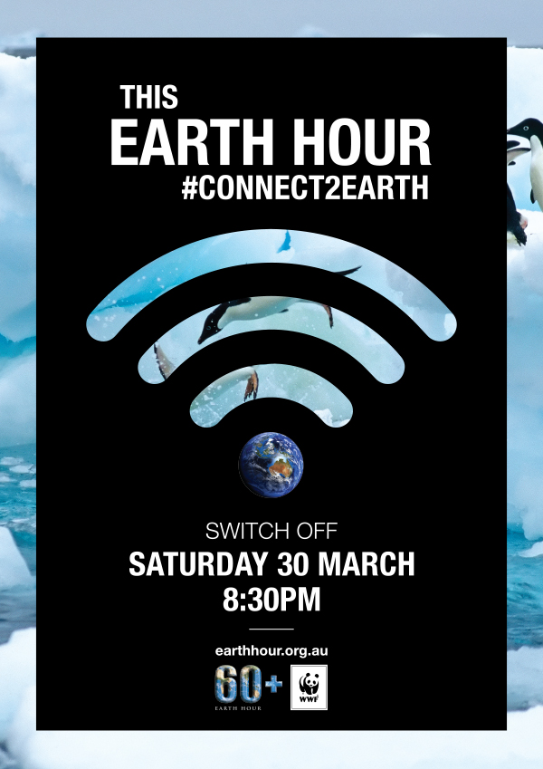 Connect2Earth Penguin poster. Background image © National Geographic Creative / Paul Nicklen / WWF