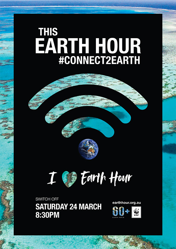Earth Hour poster 2018: I love Earth Hour. Background image © WWF-Aus / Miller