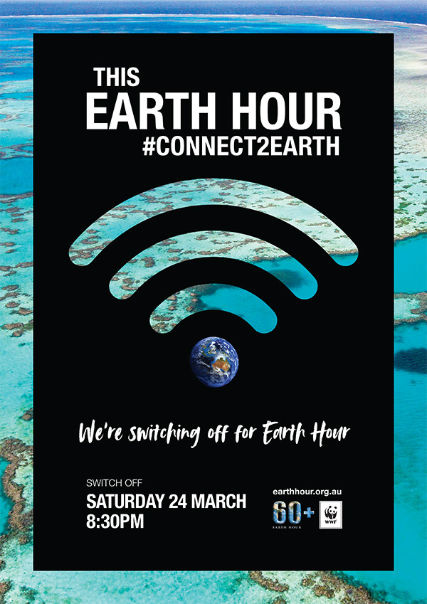 Earth Hour poster 2018: We're switching off. Background image © WWF-Aus / Miller